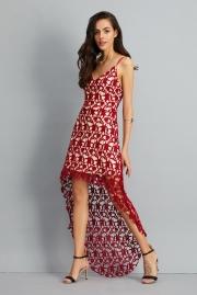 Floral Lace Trim Asymmetric Spaghetti Strap Sbort Party Cocktail Dress