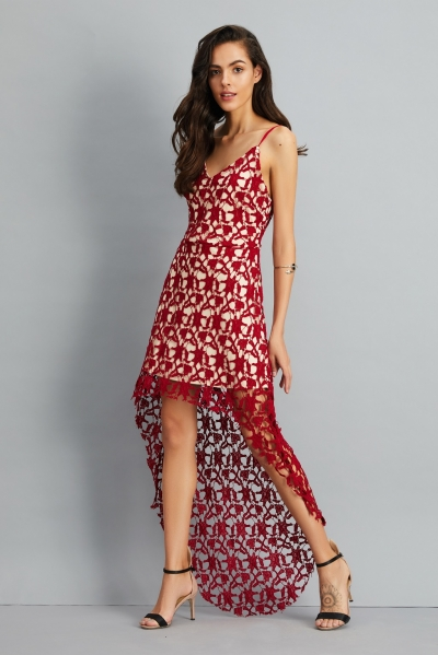 Floral Lace Trim Asymmetric Spaghetti Strap Sbort Party Cocktail Dress