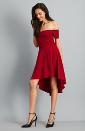 Elegant Short Sleeve Slash Neck Slim Pleated High Low Party Going Out Dress