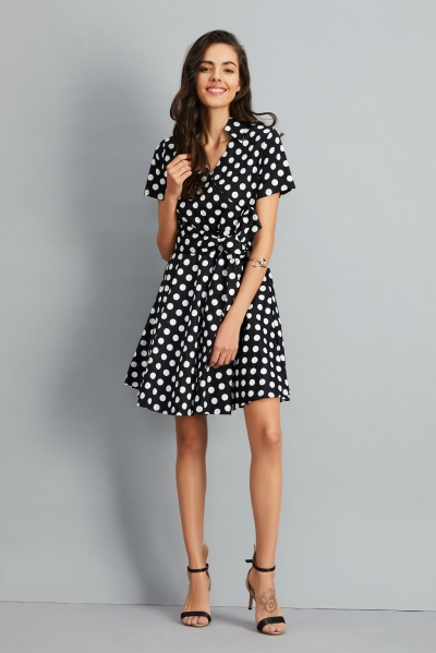 Women's Polka Dot Bow Waist Stand Collar A-Line Day Dress