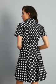 Women's Polka Dot Bow Waist Stand Collar A-Line Day Dress