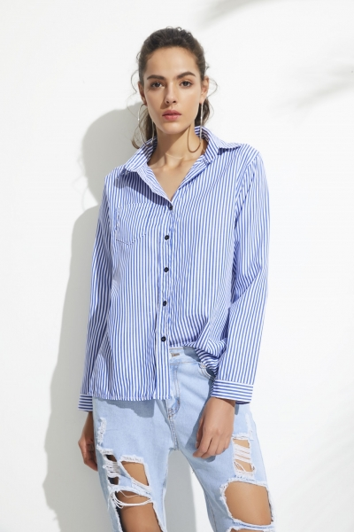 Women's Long Sleeve Striped Button Down Shirt