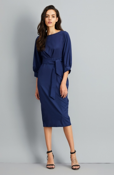 Elegant Lantern Sleeve Belted Slim Fit Slim Midi Dress