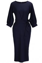 Elegant Lantern Sleeve Belted Slim Fit Slim Midi Dress