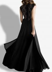 Chic Lace Paneled V Neck Slim Fit Dress