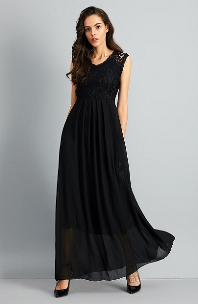 Chic Lace Paneled V Neck Slim Fit Dress