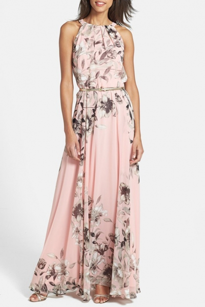 Charming Floral Printed Sleeveless Maxi Dress STYLESIMO.com