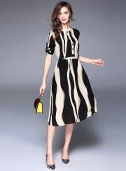 Stripped Print Slim Chiffon Midi Dress