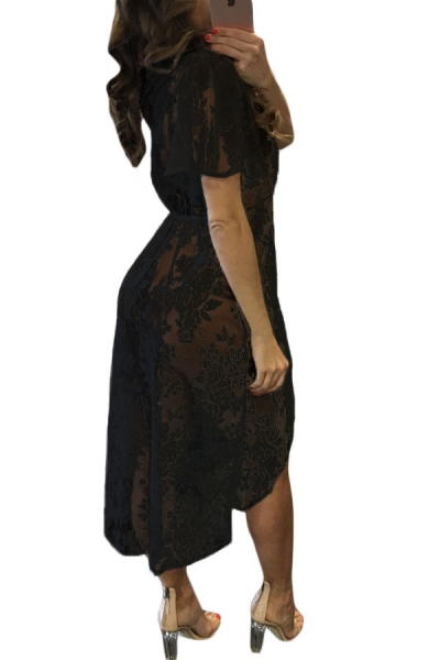 black-sheer-lace-tassel-tie-pily-cover-dress