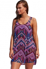 Purplish Boho Style Sheer Chiffon Beach Dress
