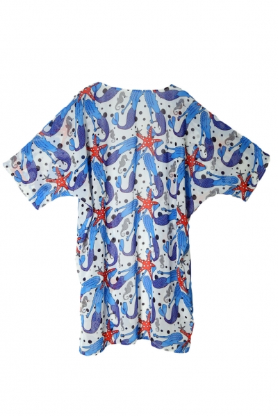 cute-mermaid-print-open-front-chiffon-beachwear