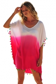 White Pink Tassel Beach Cover up