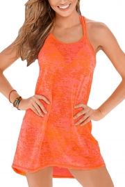 Orange Braided Racerback Burnout Beach Dress