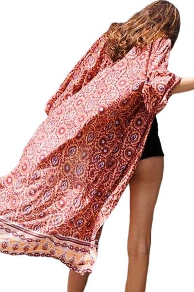 Indian Dusk Print Long Beach Kimono