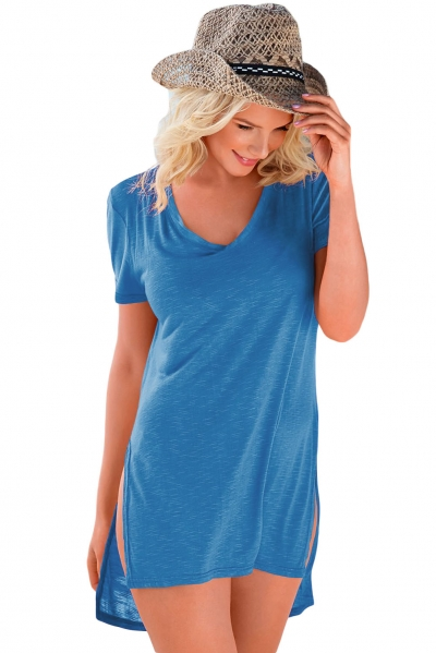 Dark Blue Cozy Short Sleeves T-shirt Cover-up