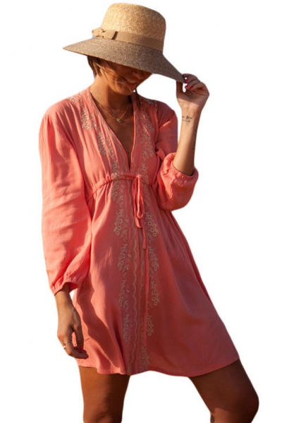 Deep V Neck Embroidered Beach Tunic