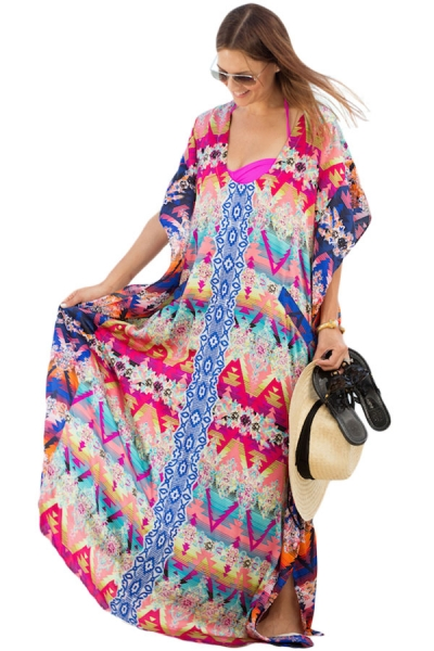 Multicolor Print Kaftan Maxi Dress