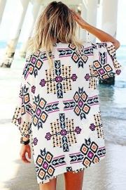 2b4b096961 Trendy Geometry Print Beach Kimono - STYLESIMO.com