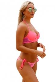 c5120f8721f Striped Detail Bright Coral Bikini Swimsuit - STYLESIMO.com