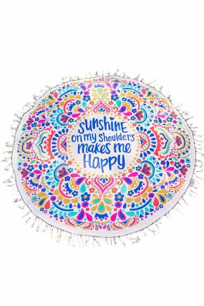 Sunshine Happy Round Beach Towel Blanket