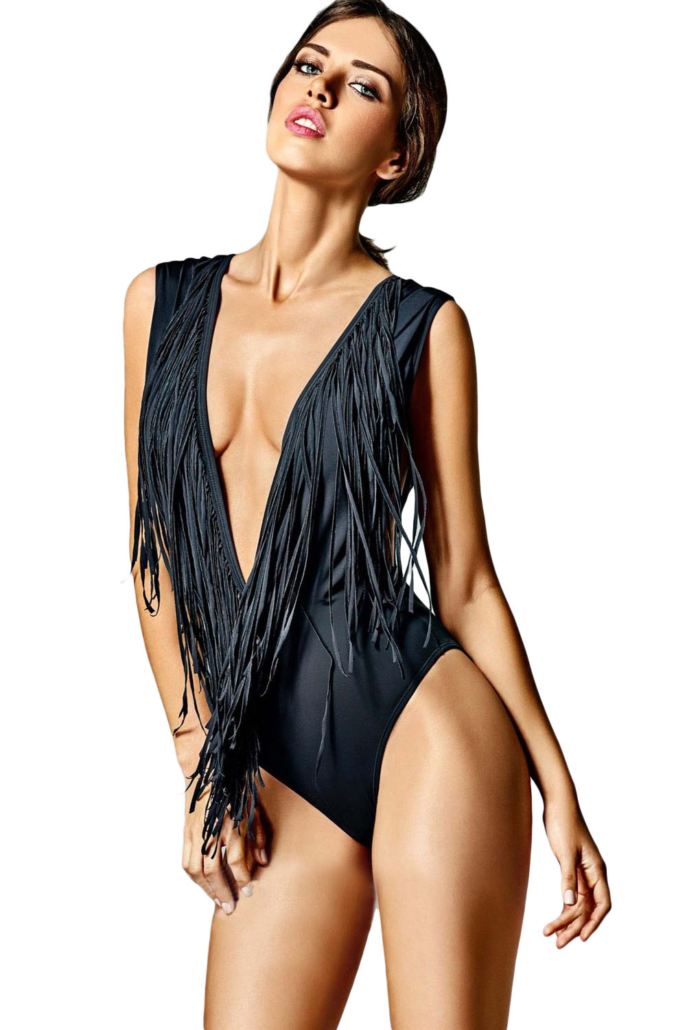 9e893dd0290 Loading zoom. Super Low V Neck Fringed One-piece Swimsuit ...