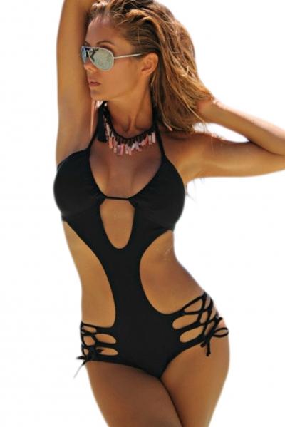 c180dd8515 Black Strappy Crisscross Cut out Monokini. Black Strappy Crisscross ...   28. Blue Printed Strappy Cutout One Piece Swimsuit