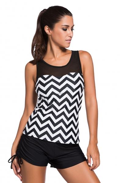 Black White Zigzag Print Mesh Splice 2pcs Tankini Swimsuit