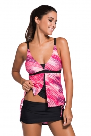Pinkish Print Tankini Skort Bottom Swimsuit