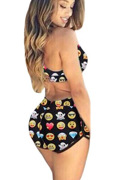 a4bb58a803 Funny Emoji Print Sporty Bathing Suit - STYLESIMO.com