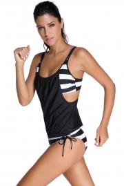 fe2b0e7fe92 ... Black Layered-Style Striped Tankini with Triangular Briefs ...