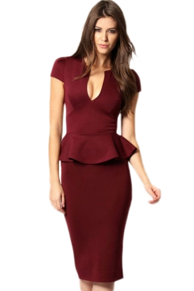 Noble V-neck Midi Peplum Dress Claret