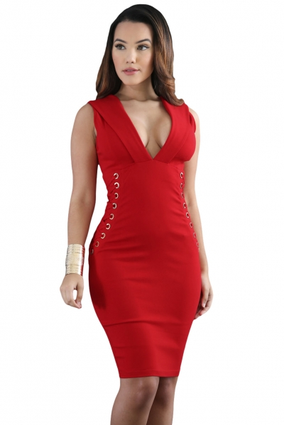 Red Lace It Sideways Bodycon Dress
