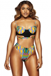 Stylish African Print Cut out High Waist Swimsuit