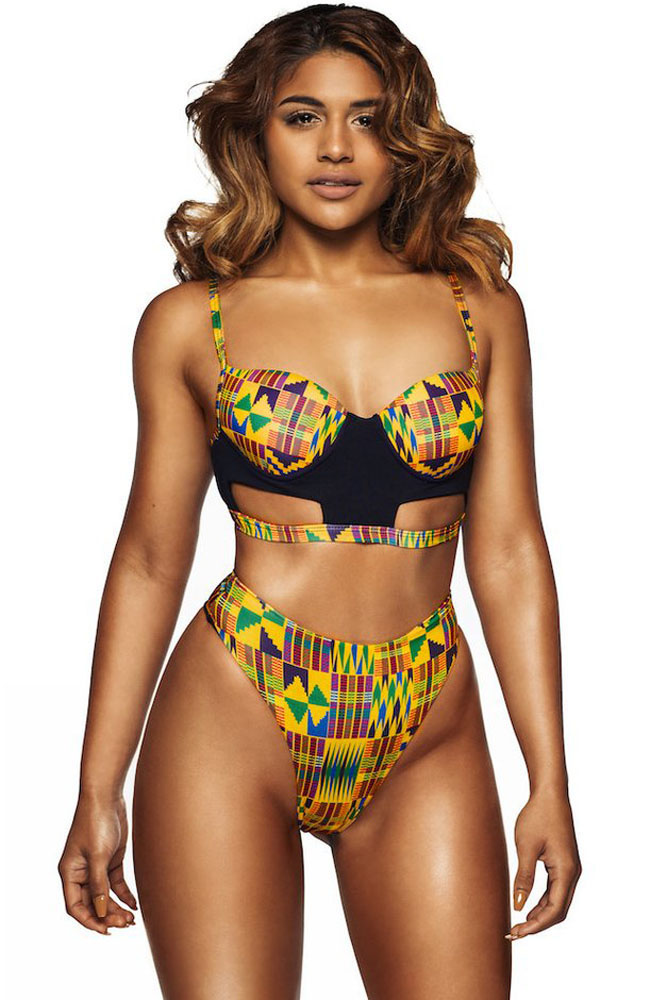 14d78d58bb Yellowish African Print Cut out High Waist Swimsuit - STYLESIMO.com