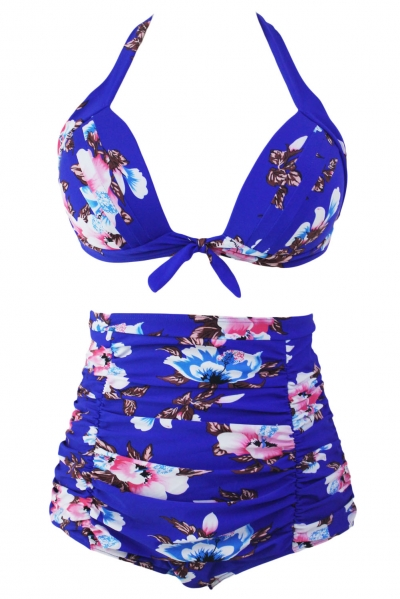 Floral Print Royal Blue High Waist Bikini Swimsuit