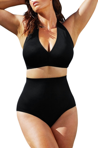 Solid Black Halter High Waist Swimsuit