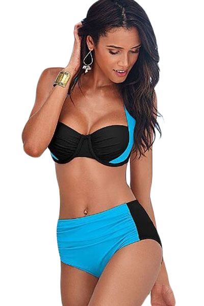 Blue Black Stylish Bicolor High Waist Swimsuit