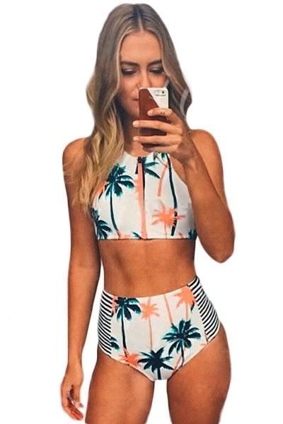 5feb121110 Palm Tree Printed Stripe High Waist Swimwear - STYLESIMO.com