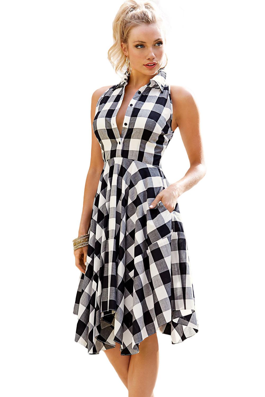 Black White Gray Checks Flared Shirtdress - STYLESIMO.com