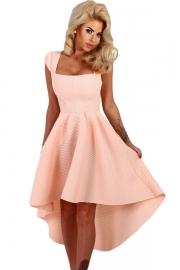 Pink Stripe Dip Hem Midi Swing Dress