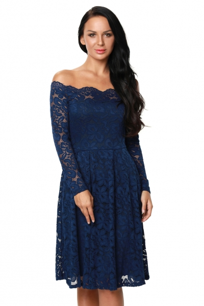 Blue Long Sleeve Floral Lace Boat Neck Cocktail Swing Dress