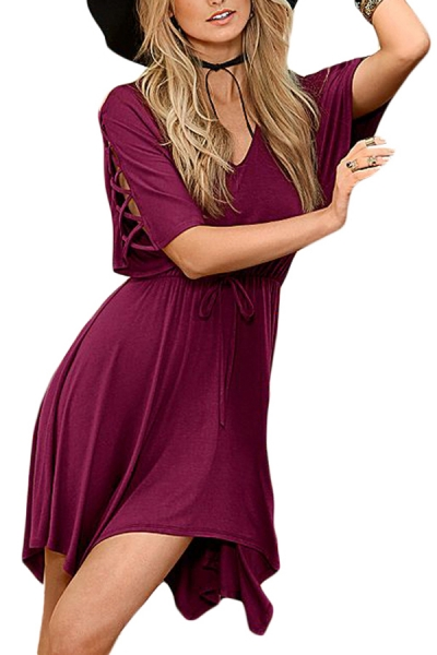 Burgundy Lace Up Half Sleeves Irregular Skater Dress STYLESIMO.com
