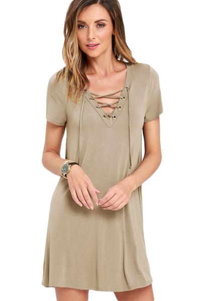 Khaki Casual Lace-up Swing Dress