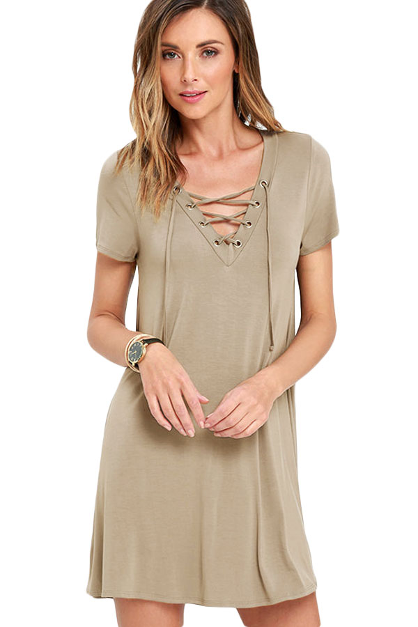 d9f1af6cdcd8 Khaki Casual Lace-up Swing Dress - STYLESIMO.com