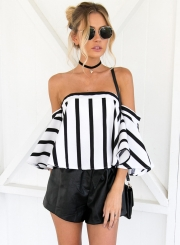Women's Strapless Striped off Shoulder Flare Sleeve Blouse