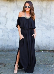 Women's Boho off Shoulder Short Sleeve Ruffle Solid Maxi Dress with Pockets