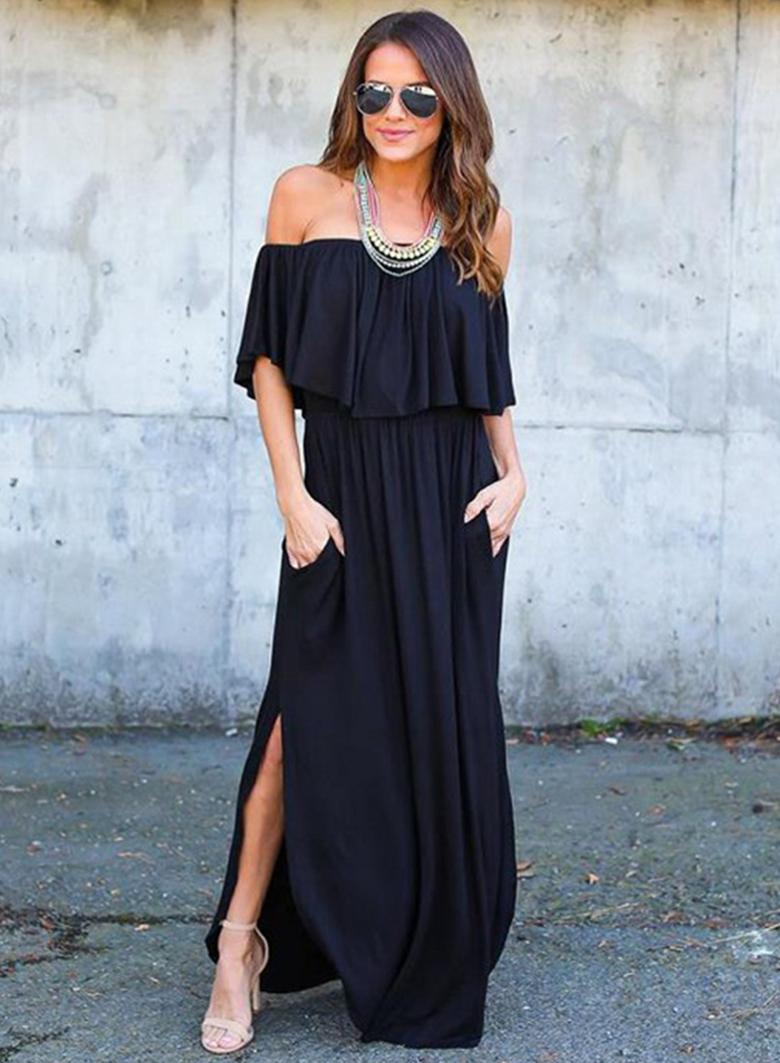 dc88b837f639 Loading zoom. Women's Boho off Shoulder Short Sleeve Ruffle Solid Maxi Dress  with Pockets ...