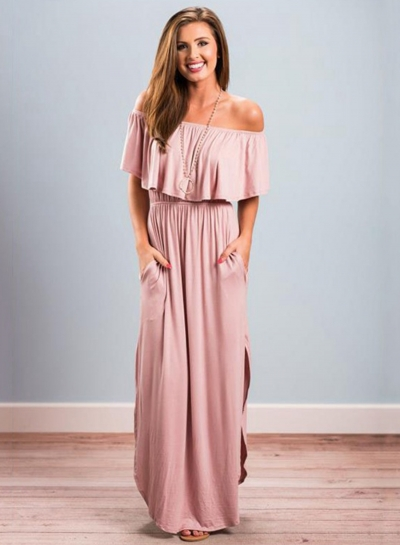 Women s Boho off Shoulder Short Sleeve Ruffle Solid Maxi Dress with Pockets  stylesimo.com 23fbb23422