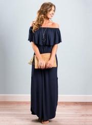 Women's Boho off Shoulder Short Sleeve Ruffle Solid Maxi Dress with Pockets