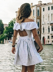 Women's Casual Striped off Shoulder Ruffle Short Sleeve Backless Dress